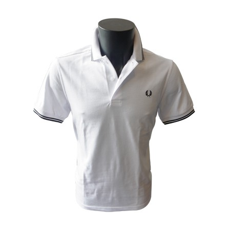 Polo Fred Perry Twin Tipped Blanc/Noir