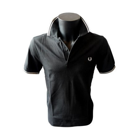 Polo Fred Perry Twin Tipped Noir/Blanc