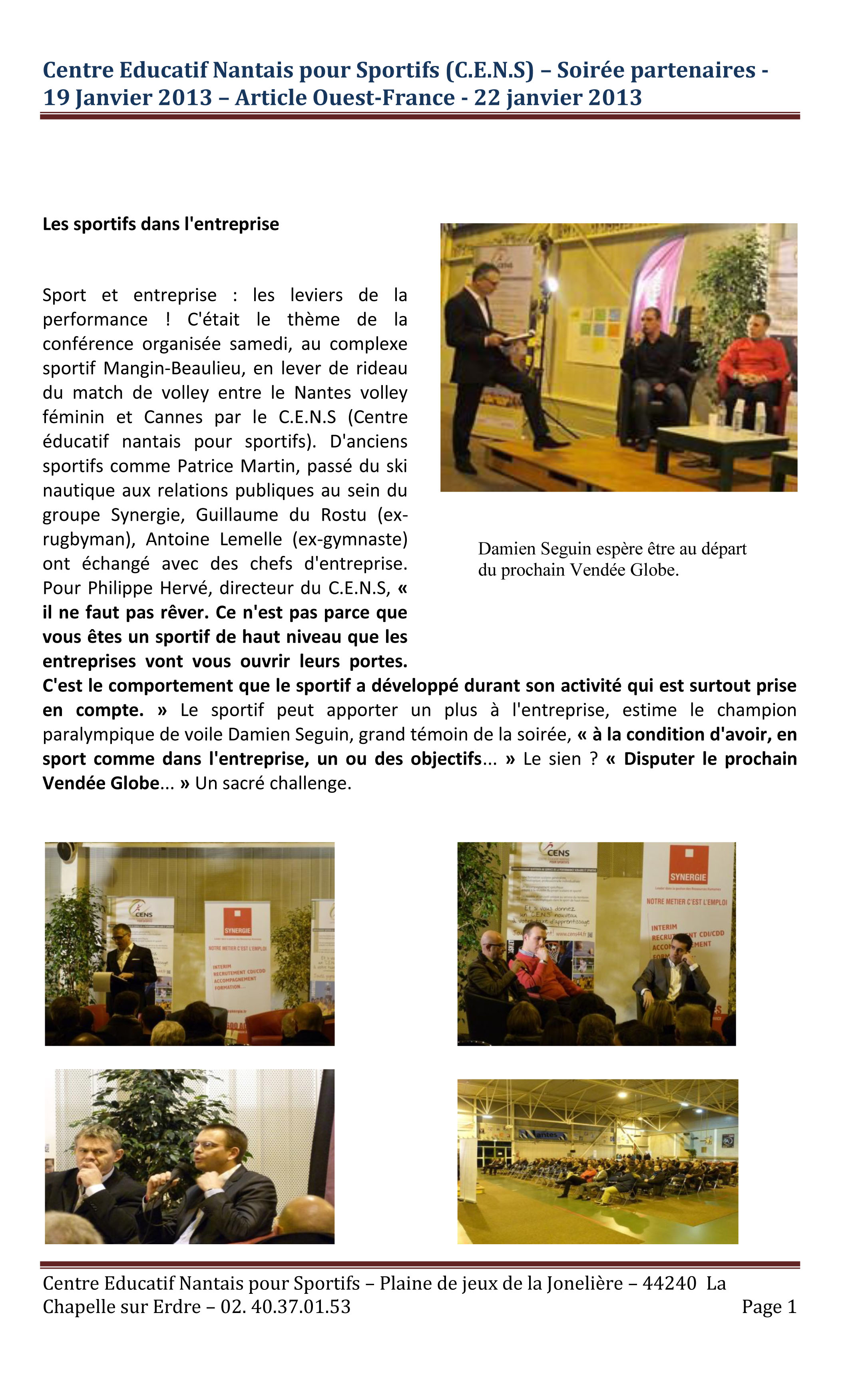 Article Ouest France soirée partenaires 19012013.jpg